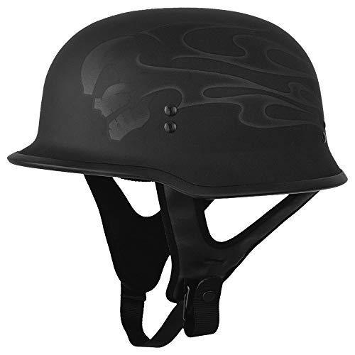 Black Sz L Fly Racing 9MM Ghost Skull German Style Half Helmet