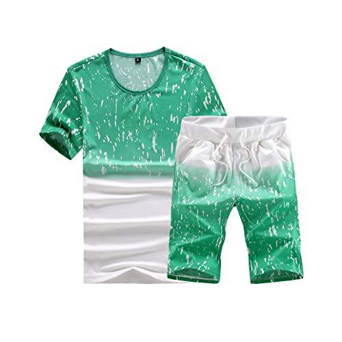 Music Fan T-Shirts,Sweatshirt Hoodie Pullover,Mens Fashion Printing Short Sleeve O Neck Shirt Tops Casual Short Pant Suit,Green,2XL
