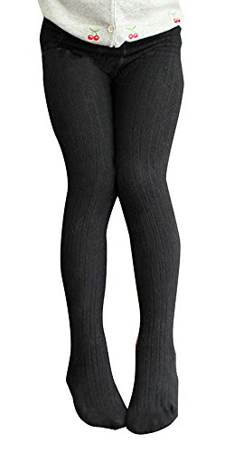 Fall Winter Cotton Stretch Cable Knit Footed Tight Leggings Black-3(US M(5)=Asian Tag 115) ()