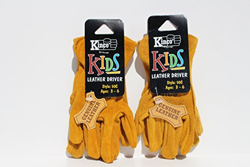 Kinco 50-C Work Gloves, Garden Gloves for Kids (Pack of 2) Ages 3-6 - Golden Suede Cowhide Leather - Exactly Like the Adult Version!
