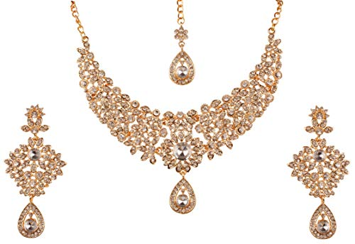 Touchstone Hollywood Glamour Grand Wedding Evening wear Jewelry Necklace for Women (Gold)
