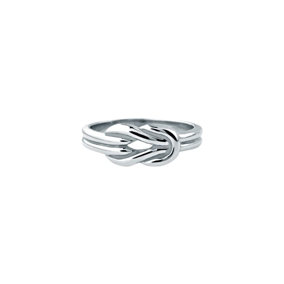 Womens Stainless Steel Ring with a Polished Knot On The Front   Size 6