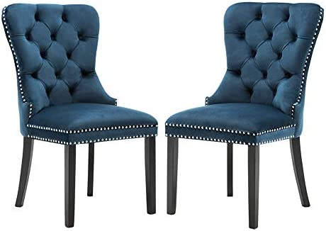 Velvet Dining Room Chairs Upholstered, Elegant Tufted Chair with Nailed Trim, Velvet Accent Chair Set of 2 – Indigo Blue