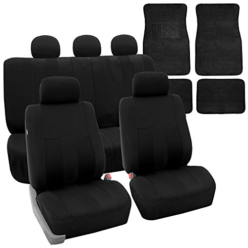 FH GROUP FH-FB036115 + F14407 Combo Set: Striking Striped Seat Covers with Premium Carpet Floor Mats Solid Black Color- Fit Most Car, Truck, Suv, or Van