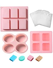 Pack of 3 Soap Making Molds and 50pcs Wrap Bags, 14 Cavity Food Grade Silicone Cake Soap Making Supplies Kit Mixed Shape DIY Handmade Soap Molds