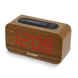 Sharp 1.2 Red LED Woodgrain Alarm Clock