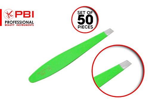 Eyebrows tweezer - hair plucker - hair depletion tweezer - eyelash extension placer - Green Color tweezers - 6.7 cm - 50 pieces set - Stainless steel from PBI by PBI professional beauty instruments