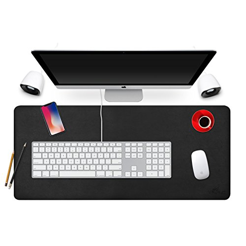 YAFLC Professional Desk Mat 31.5''x15.8'', Desk Pad Protecter PU Leather Blotters Mouse Pad Organizer for Gaming, Writing, Working on Office/Home Dual-Sided (Black+Black) by YAFLC