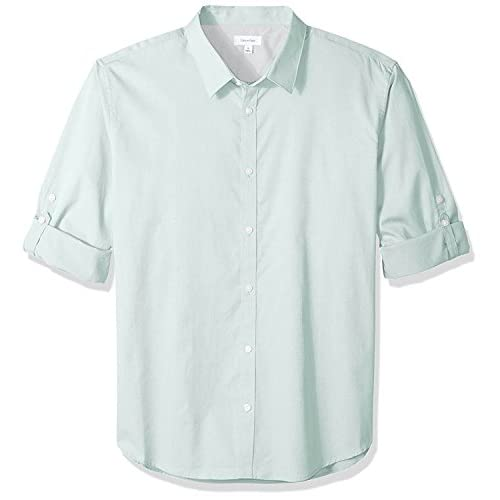 Calvin Klein Men's Long Sleeve Roll Tab Button Down Shirt, Mint Splash, X-Large
