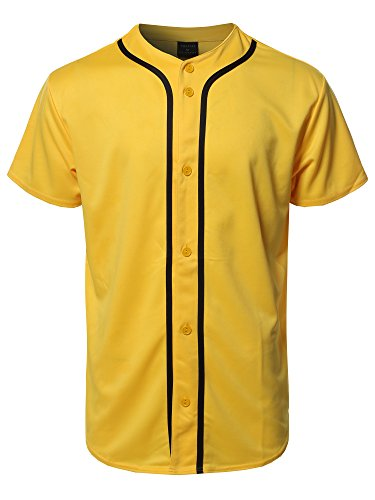 Youstar Solid Front Button Closure Athletic Baseball Inspired Jersey Top Yellow 3XL ()