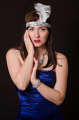Roaring Twenties Costumes Accessories (Luxury 1920s Accessories Roaring Twenties Feathered Headband by Vowster, Costume Headpiece Design with Sequins. For the Art Deco, Flapper Girl Themed Vintage Fancy Dress. Silver with White Feather)