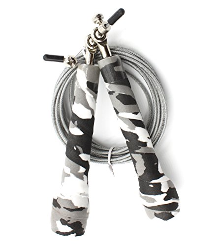 Virtus Speed Jump Rope - Skipping Ropes for Teens & Adults - Workout Fitness Cardio Exercise Boxing Crossfit - Portable Light Weight Jumping Rope - Adjustable 10ft Cable - Camouflage (Boss Jumper Cable)