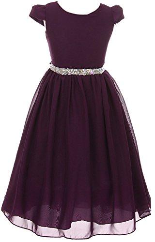 iGirldress Girls Short Sleeve Chiffon Jeweled Belt Holiday Party Flower Girl Dress Eggplant Size (Purple Jeweled Dress)