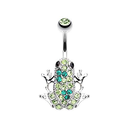 (Amazon Frog Multi-Gem WildKlass Belly Button Ring)