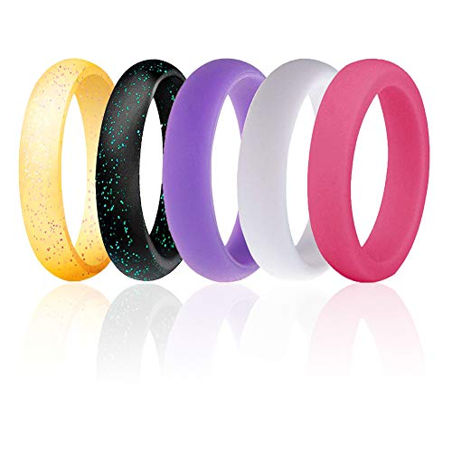 Silicone Wedding Ring for Men, Mens Rubber Silicone Wedding Bands - 5 Pack / 2 Pack (White, Purple, Rose Red, Yellow with Pink Glitters, Black with Turquoise Glitters, 6.5-7(17.35mm))