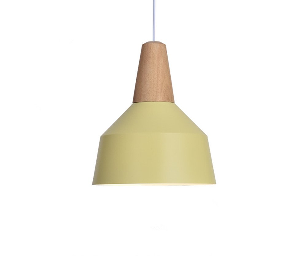 BOKT 60W Edison Lights Modern Industrial Pendant Lamp Colorful Hanging Chandelier Shade Light E26/E27 Base Painted Finish Solid Wood Series Single Head (A-Light Yellow)