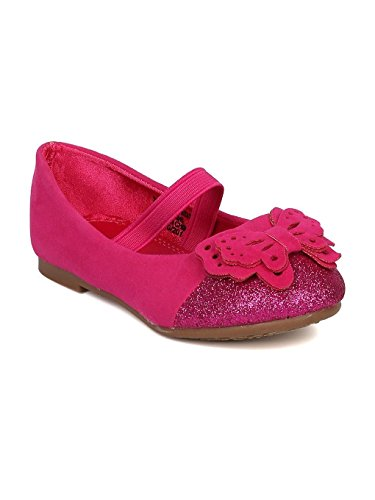 Alrisco Girls Faux Suede Layered Butterfly Capped Toe Mary Jane Flat HA81 - Fuchsia (Size: Toddler 8)