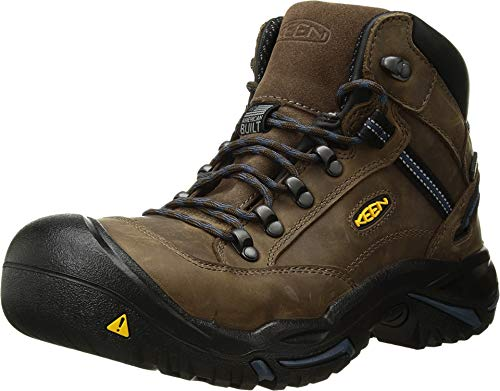 (KEEN Utility - Men's Braddock Mid (Steel Toe) Waterproof Leather Work Boot, Bison/Ensign Blue, 11.5 EE)