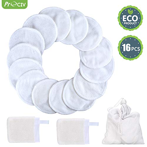 (Reusable Makeup Remover Pads+Face Cleansing Mitten, 16 Pcs Soft Bamboo Silk Cotton Round Toner Pads with Laundry Bag )