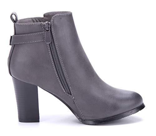 cm Klassische Grau Blockabsatz Stiefel Grau Schuhe Stiefeletten 8 Boots Damen Schnalle Schuhtempel24 ZwqzFF