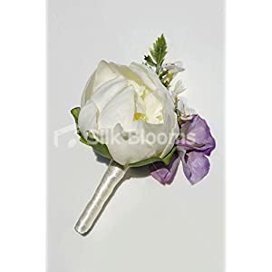 Ivory Fresh Touch Peony Wedding Buttonhole with Lilac Sweetpea 13
