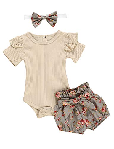KANGKANG Baby Girl Outfits Short Ruffle Romper Floral Pants Summer Outfits Cute Baby Girl Clothes