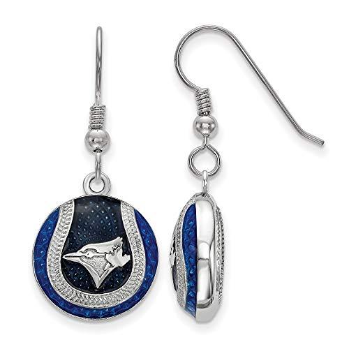 (MLB Toronto Blue Jays Sterling Silver Toronto Blue Jays Enameled Baseball Dangle Earrings Size One Size)