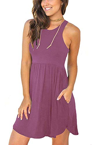 MOLERANI Women's Sleeveless Loose Plain Dresses Casual Short Dress with Pockets Mauve L