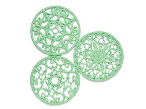 New Mint Color | Set of 3 Silicone Trivets for hot pans | Decorative design mimics iron trivets | Flexible hot pads for hot dishes | BPA Free | Perfect Color for Spring & Mother's Day Gift