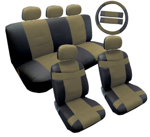 Two Tone Black and Tan Premium Synthetic PU Faux Leather Seat Cover Set 14pc For Saturn