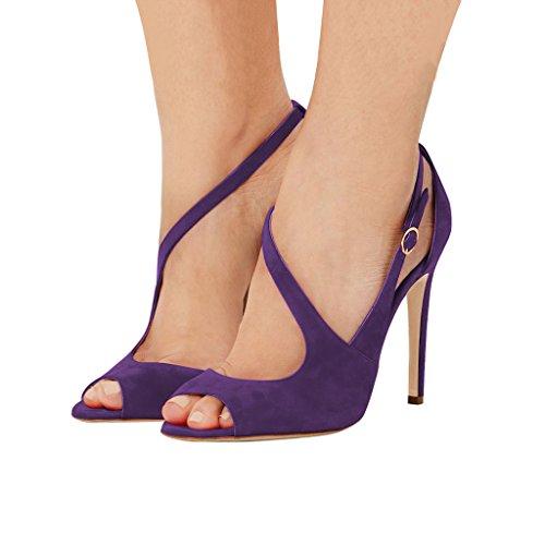 Sandalias Con Hebillas De Las Mujeres Peep Toe De Fsj Hollow Out Tacones Con Hebillas Zapatos De Cóctel Talla 4-15 Us Purple