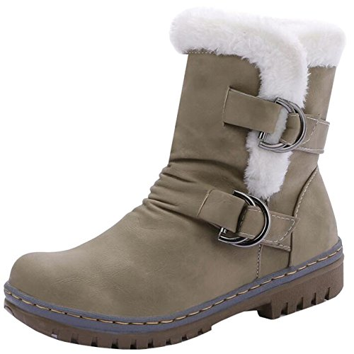 Green on Women's Slip Binying Snow Buckle Round Flat Toe Army Boots fqngwPa