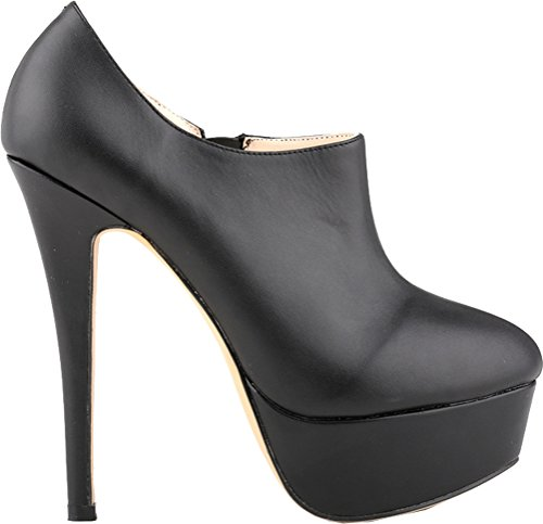 Toe Fashion Zip Pumps Platform Club High PU Black Womens Closed Heighten Sexy Heel Party Salabobo Night wU4S4P