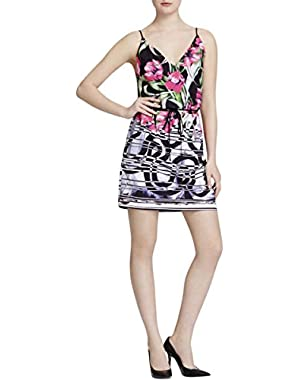 Womens Floral Print Pleated Casual Dress