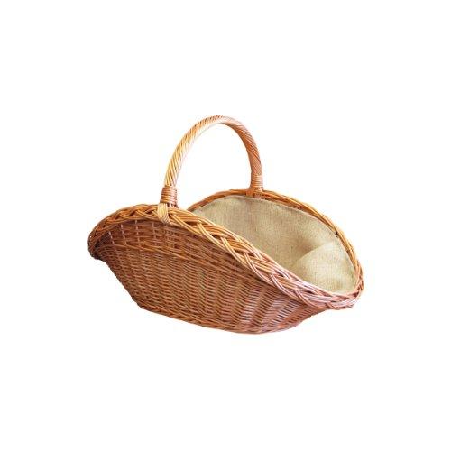 Kamino-Flam Kaminholzkorb 339456, Allzweckkorb aus geschälter Weide und Innenbezug aus Jute, stabiler, optisch ansprechender Dekorationskorb, Zeitungskorb mit Tragehenkel, macht auch als Einkaufskorb oder Korb für Papiermüll eine gute Figur, ca. 65 x 40 x 40 cm