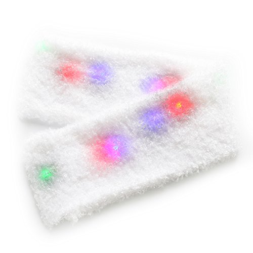LED Scarf ZOETOUCH Light Up Scarf Glowing Scarf Multi-color Soft White Scarf 6 Flashing Modes