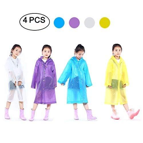DEWEL Rain Poncho 4 Pack Reusable Eva Raincoat Hat Adult Children Outdoor (Children) by DEWEL (Image #6)