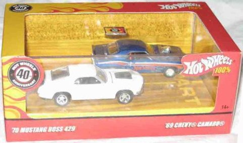 100% 2 Pack '69 Chevy Camaro Hardtrop And '70 Mustang Boss 429 Collector 2007 Hot Wheels 1:64 Scale Collectible Die Cast Cars - 70 Boss 429 Mustang