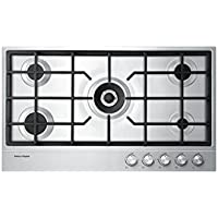 Fisher Paykel CG365DNGX1 36' Gas on Steel Cooktop with Wok Support Easy Clean Design Electronic Ignition and Cast Iron Trivets in Stainless