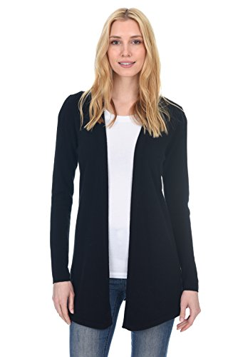 State Fusio Women's Wool Cashmere Soft Shaker-Stitch Open Cardigan Sweater Premium Quality Black ()