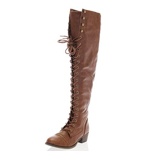 Breckelles Kvinners Alabama-12 Kne Høye Ridestøvler Premium Tan