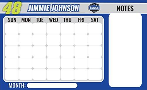NASCAR #48 Jimmie Johnson Peel & Stick Dry Erase Calendar w/ Marker-9.5