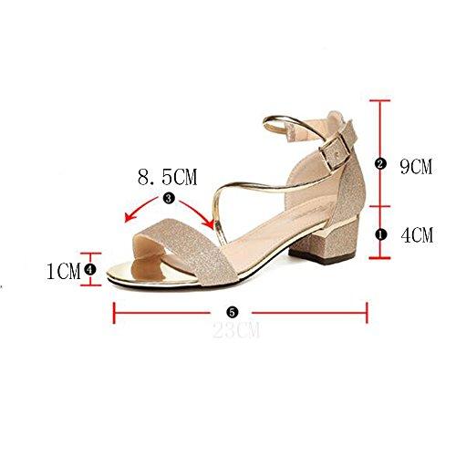 Mujer De Para Sandals Chanclas Duo Sandalias Verano Oro Peep Elegante Tamaño Toe Heel color Noche Y Plata Pu Oro uk4 cn36 Zapatos Fiesta Chunky Primavera Eu36 nOxIXpwp
