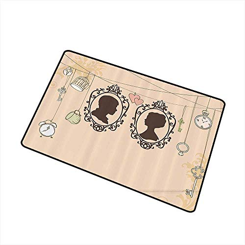 Interior Door mat Wedding Decorations Vintage Silhouette Frames Married Couple French Style Design W30 xL39 Suitable for Outdoor and Indoor use Light Pink Dark Brown