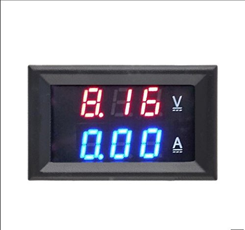 NJPOWER DC 0-100V 10A Digital Voltmeter Ammeter Dual Display Voltage Detector Current Meter Panel Amp Volt Gauge 0.28' Red Blue LED