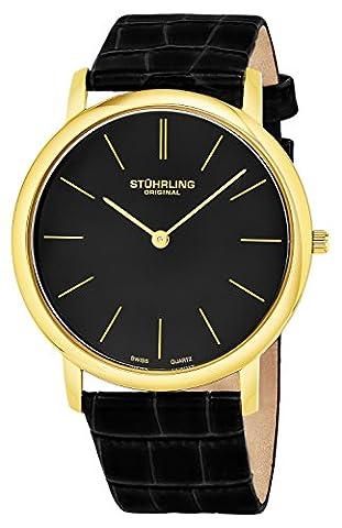 Stuhrling Original Men's 601.33351 Classic Ascot Swiss Quartz Ultra Thin Black Leather Strap Watch (Swiss Mens Classic)