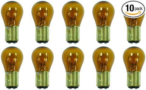 Bulbs Amber Box of 10 S-8 shape 23//8.26 W BAY15d Base CEC Industries #1034A 12.8//14 V