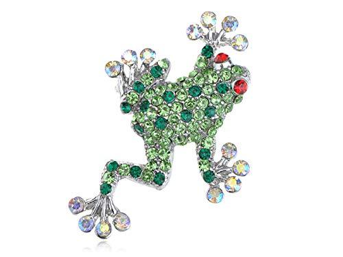 - Studded Peridot, Fashion, Ruby Red Eye Opal Crystal Rhinestone Frog Brooch Pin