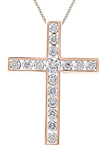 Round Cut White Natural Diamond Cross Pendant Necklace In 14k Rose Gold Over Sterling Silver