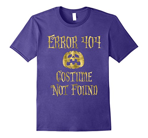 Error 404 Costume Not Found Image (Mens Halloween Shirt Faux Gold Error 404 Pumpkin Small Purple)